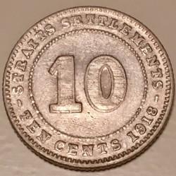 Minca > 10cents, 1918-1920 - Straits Settlements  - reverse