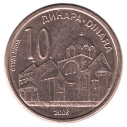 Монета > 10динара, 2006 - Сърбия  - reverse