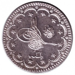 Moneta > 5 kuruszy, 1876 - Imperium Osmańskie  (Ligature at the top right of Tugra) - obverse