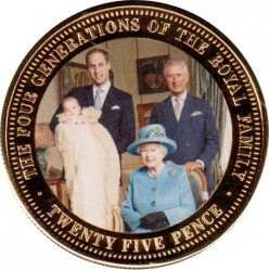 Mynt > 25 nye pence, 2014 - St. Helena  (The Four Generation of the Royal Family) - reverse