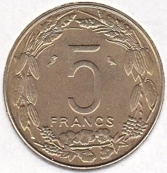 Кованица > 5франака, 1961-1962 - Екваторијалне Афричке Државе  - obverse