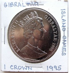 Moneta > 1corona, 1995 - Gibilterra  (VI Giochi delle Isole - Sette sportivi) - reverse