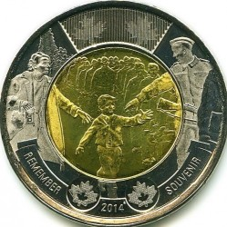 Moneda > 2dólares, 2014 - Canadá  (75 aniversario - Segunda Guerra Mundial) - reverse