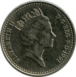 Coin > 5 pence, 1991 - United Kingdom  (New type: small coin - diameter 18 mm) - reverse