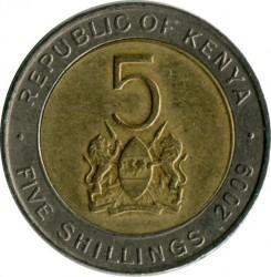 Монета > 5шиллингов, 2005-2009 - Кения  - obverse