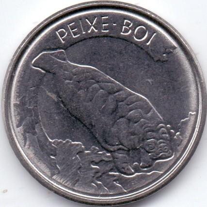 wildlife animal coin Fox 1993 Brazil 100 cruzeiros dog