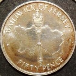 Moneta > 50pence, 1972 - Jersey  (25° Anniversario - Matrimonio della Regina Elisabetta II e del Principe Filippo) - reverse