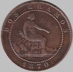 Minca > 2céntimos, 1870 - Španielsko  - obverse