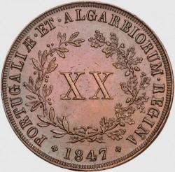 Монета > 20рейса, 1847-1853 - Португалия  - reverse