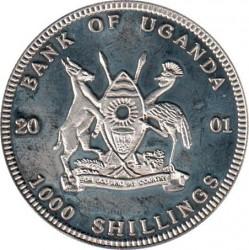 Moneta > 1000szylingów, 2001 - Uganda  (Wielka piątka w kolorze - Nosorożec) - obverse