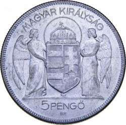 Монета > 5пенгё, 1930 - Венгрия  (10 лет регенства Адмирала Хорти) - obverse