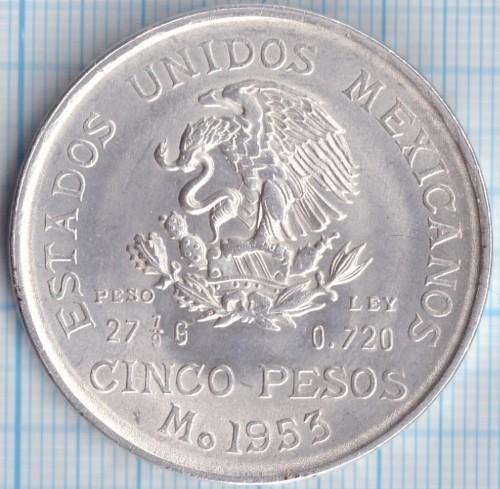 5 pesos 1951-1954, Mexico - Coin value - uCoin net
