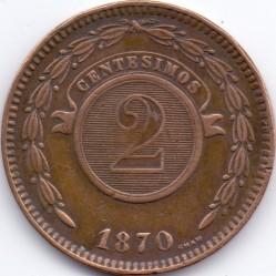 Coin > 2centésimos, 1870 - Paraguay  - reverse