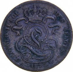 "Moneda > 1centime, 1869-1907 - Bèlgica  (Llegenda en francès -  ""DES BELGES"") - reverse"