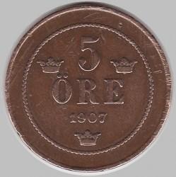 Pièce > 5ore, 1906-1907 - Suède  - reverse