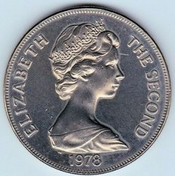 Coin > 25 pence, 1978 - Saint Helena  (25th Anniversary - Coronation of Queen Elizabeth II) - obverse