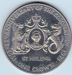 Coin > 25 pence, 1978 - Saint Helena  (25th Anniversary - Coronation of Queen Elizabeth II) - reverse