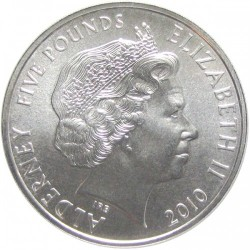 Monedă > 5 lire, 2010 - Alderney  (Engagement of Prince William and Catherine Middleton) - obverse