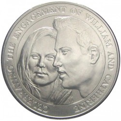 Monedă > 5 lire, 2010 - Alderney  (Engagement of Prince William and Catherine Middleton) - reverse