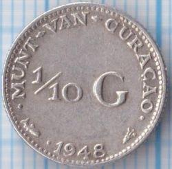 Mynt > 1/10gulden, 1948 - Curaçao  - reverse