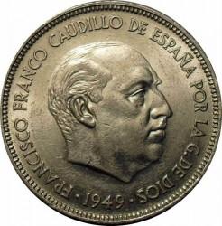 Monedă > 5pesete, 1949 - Spania  - obverse
