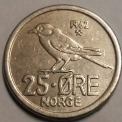 Mynt > 25ore, 1962 - Norge  - reverse