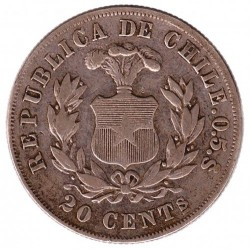 Coin > 20centavos, 1891-1893 - Chile  - reverse