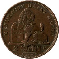 """Moneda > 2centimes, 1902-1909 - Bèlgica  (Llegenda en holandès - """"DER BELGEN"""") - reverse"""