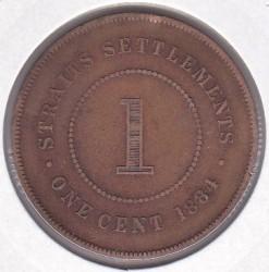 Moneta > 1centesimo, 1884-1886 - Insediamenti dello Stretto  - reverse