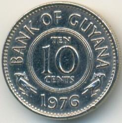 Moneta > 10centów, 1976 - Gujana  (Herb na rewersie) - reverse