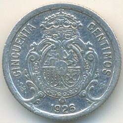 Moeda > 50cêntimos, 1926 - Espanha  - obverse