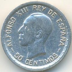 Moeda > 50cêntimos, 1926 - Espanha  - reverse