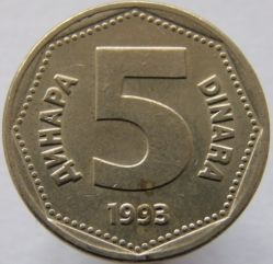 Mynt > 5dinara, 1993 - Jugoslavien  - obverse