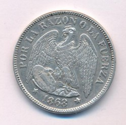 Moneta > 50centavos, 1867-1872 - Cile  - obverse