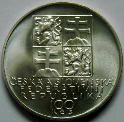 Moneta > 100corone, 1991 - Cecoslovacchia  (150° anniversario - Nascita di Antonín Dvořák) - obverse