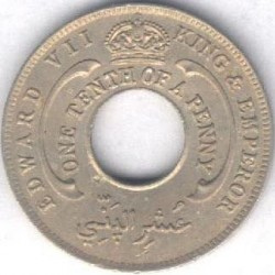 Moneda > 1/10penic, 1908-1910 - Àfrica Occidental Britànica  (Coure-níquel, pes 1.9gr) - obverse