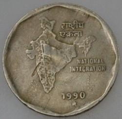 Mynt > 2rupier, 1990 - India  - reverse