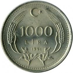 Coin > 1.000lira, 1991 - Turkey  - reverse