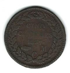 Кованица > 5центи, 1837 - Монако  (Copper /brown color/) - reverse