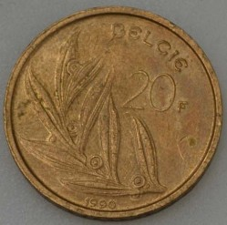 """Minca > 20francs, 1990 - Belgicko  (Nadpis v holandčine - """"BELGIE"""") - reverse"""