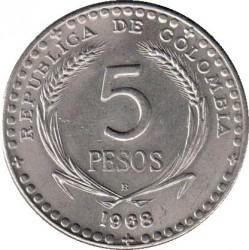 Moneta > 5pesos, 1968 - Colombia  (39th International Eucharistic Congress) - reverse