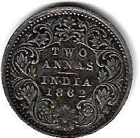 Кованица > 2ана, 1862-1876 - Индија - Британија  - reverse