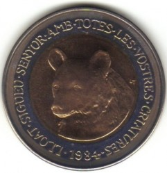 Moneda > 2 diners, 1984 - Andorra  (Animales - Oso) - obverse
