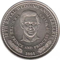 Moneta > 1corona, 1991 - Turks e Caicos (Isole)  (10° anniversario - Matrimonio del principe Carlo e Lady Diana/Principe Carlo/) - reverse