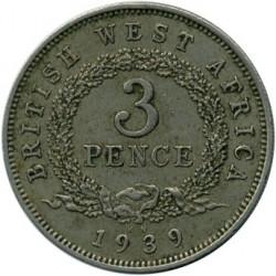Moneda > 3pence, 1938-1947 - Àfrica Occidental Britànica  - reverse