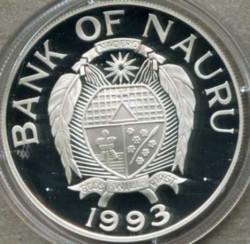 Moneta > 10dolarów, 1993 - Nauru  (Zagrożone gatunki - Trzciniak ) - obverse