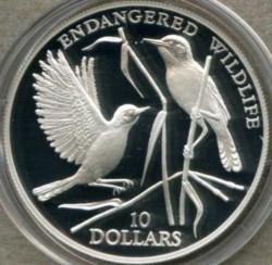 Moneta > 10dolarów, 1993 - Nauru  (Zagrożone gatunki - Trzciniak ) - reverse
