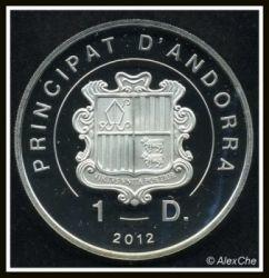 Moneda > 1diner, 2012 - Andorra  (Pájaros de Andorra - Pato) - obverse