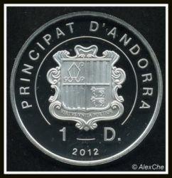 Moneda > 1diner, 2012 - Andorra  (Pájaros de Andorra - Urogallo) - obverse