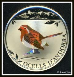 Moeda > 1dinheiro, 2012 - Andorra  (Birds of Andorra - European Robin) - reverse